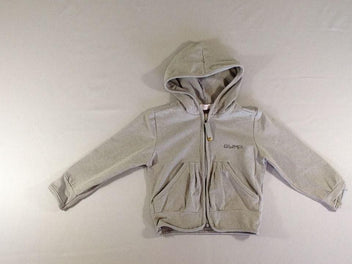 Sweat zippé à capuche gris chiné Gymp strass