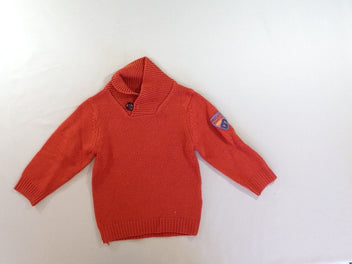 Pull orange col montant Knit so bad