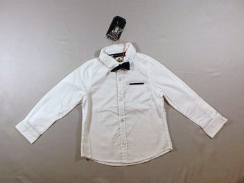 NEUF Chemise m.l blanche noeud papillon