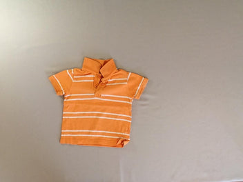 Polo m.c orange rayé blanc
