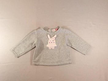 Sweat gris chiné/argenté lapin