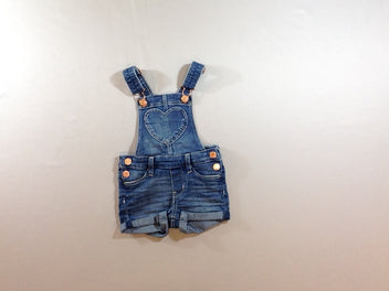 Salopette short jean à revers