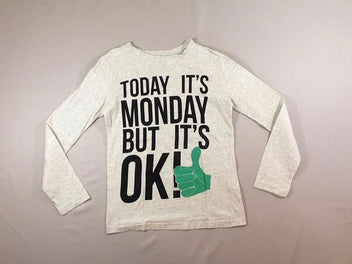 T-shirt m.l écru/gris chiné « Today it's monday but it's OK »
