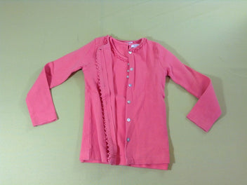 Twin set jersey côtelé rose saumon, gilet + t-shirt m.c