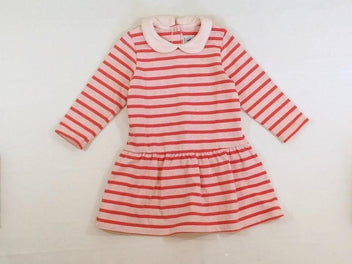 Robe m.l molleton rose pâle chiné rayé rose vif