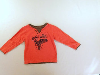 T-shirt m.l. orange effet superposé Born to be wild