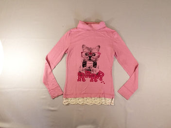 T-shirt col roulé rose chat dentelle