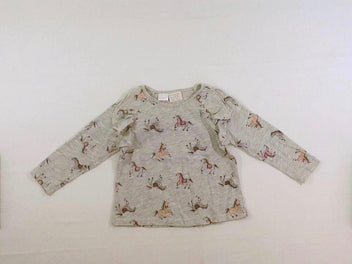 T-shirt m.l gris chiné chevaux, volants