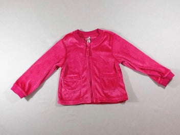 Gilet zippé velours rose vif