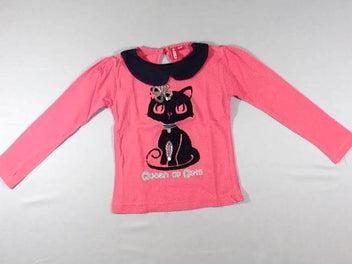 T-shirt m.l rose col noir, chat velours noir