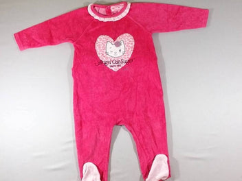 Pyjama velours rose vif coeur chat
