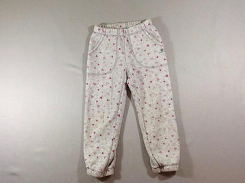Pantalon training molleton gris chiné triangles roses