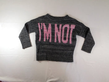 Pull gris foncé chiné « I'm not perfect »