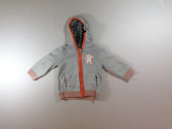 Gilet zippé à capuche gris chiné/orange pirates doublé jersey