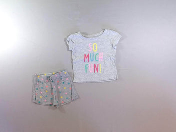 T-shirt m.c gris chiné So Much + short jersey gris chiné