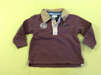 Polo ml violet col beige FP