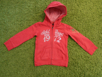 Sweat zippé à capuche rose vif