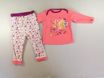 Pyjama 2pcs molleton rose/mauve animal foret