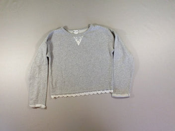 Sweat court gris chiné dentelles broderies