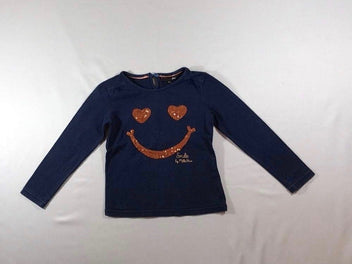 T-shirt m.l bleu marine smiley sequins