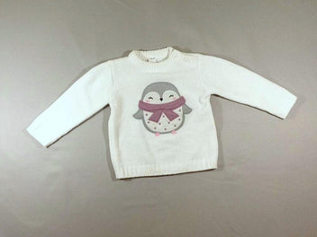 Pull maille chenille blanc cassé pingouin