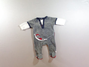 Pyjama velours gris pirate