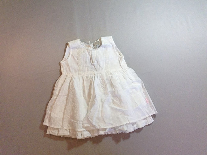 Robe s.m blanche broderies, moins cher chez Petit Kiwi