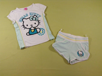 T-shirt m.c blanc + short vert Kello Kitty
