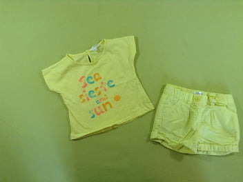 T-shirt m.c jaune « Sea sieste and sun » + short jaune