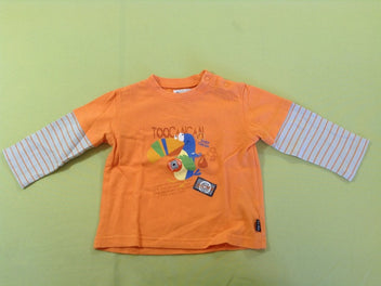 T-shirt m.l orange toucan effet superposé