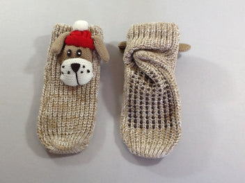 NEUF Chaussons chaussettes anti-dérapantes brun chiné chiens