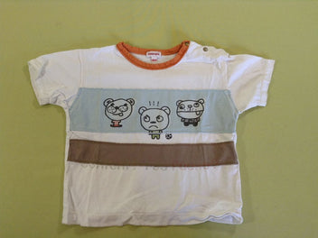 T-shirt m.c blanc/bleu/orange/taupe ours