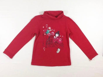 T-shirt col roulé rouge fille sequins