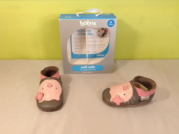 Chaussons en cuir gris/rose chat, S (3-9m)