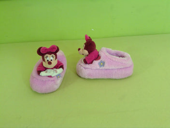 Pantoufles velours rose Minnie, Disneyland Paris, T.23-26