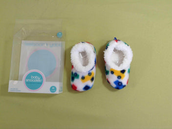 NEUF Chaussons blanc autos Baby Snoozies ! M 3-6m