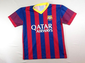 Maillot foot rayé rouge/bleu Quatar Airways – Messi
