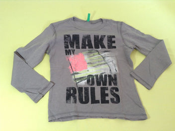 T-shirt m.l gris Make my own rules, 7-8a-130cm