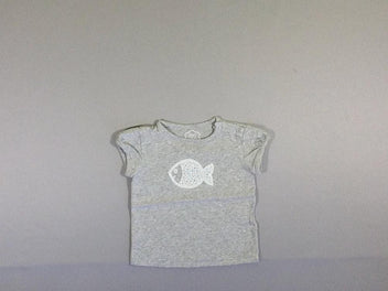 T-shirt m.c gris chiné poisson sequins