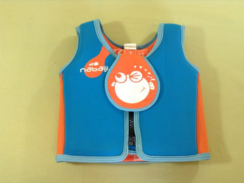 Gilet de natation bleu orange, M 18-30kg, 3-6a