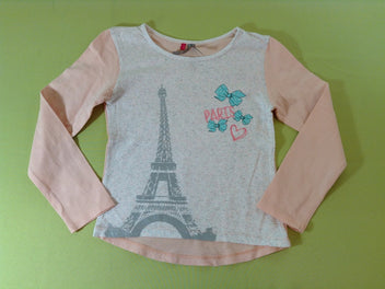 T-shirt m.l blanc/rose clair Paris