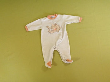 Pyjama velours blanc/orange chat