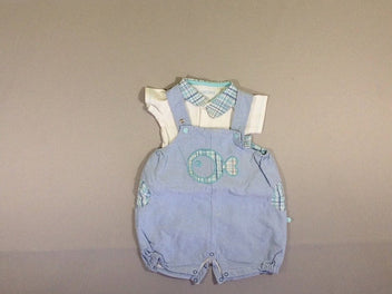 Salopette short denim poisson + body m.c blanc col
