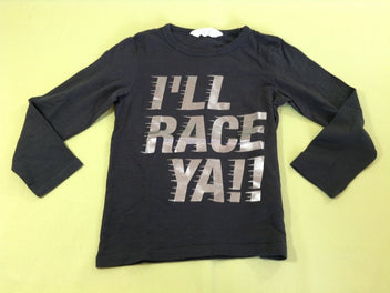 T-shirt m.l noir flammé Race