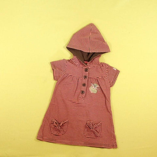 f23c2dcfe8837 Robe m.c à capuche jersey rose rayé taupe K3 - seconde main occasion ...
