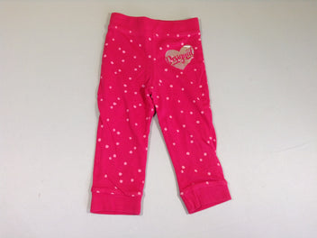 Pantalon molleton réversible rose pois insectes