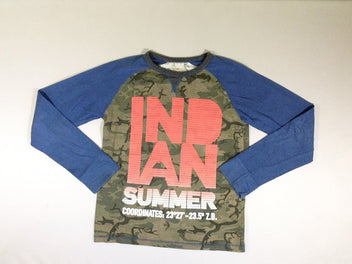 T-shirt m.l. vert kaki manches bleu (Indian Summer)