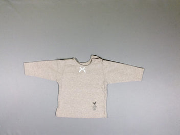 T-shirt m.l. beige chiné noeud