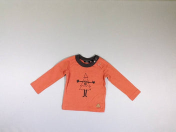 T-shirt m.l. orange/brun sapin Hug me