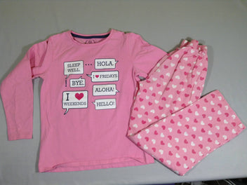 Pyjama 2 pcs jersey pantalon rose coeurs fushia/blanc + T-shirt m.l. rose messages